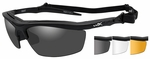 Wiley X Guard Ballistic Safety Glasses Kit with Matte Black Frame and Smoke Grey, Clear and Light Rust Lenses