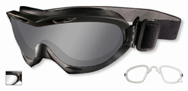 Wiley X Nerve Ballistic Goggle with Black Frame and Smoke Grey & Clear lenses and Rx Insert