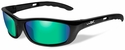 Wiley X P-17 Safety Sunglasses with Gloss Black Frame and Polarized Emerald Mirror Lens
