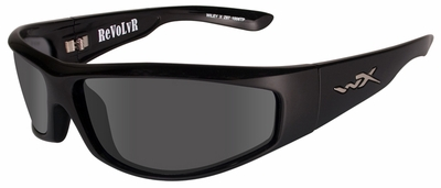 Wiley X Revolvr Safety Sunglasses with Gloss Black Frame and Smoke Grey Lens