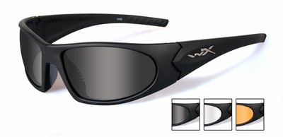 Wiley-X Romer III Advanced Ballistic Safety Glasses Kit with Gloss Black Frame and Smoke, Clear & Light Rust Lenses