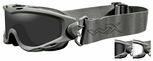 Wiley X Spear Ballistic Safety Goggle with Foliage Green Frame and Smoke Grey and Clear Lenses