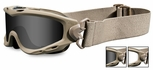 Wiley X Spear Ballistic Safety Goggle with Tan Frame and Smoke Grey and Clear Lenses