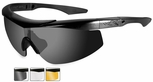 Wiley X WX Talon Ballistic Safety Glasses Kit with Matte Black Frame and Smoke, Clear and Light Rust Lenses