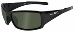 Wiley X WX Twisted Safety Sunglasses with Gloss Black Frame and Polarized Smoke Green Lens