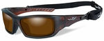 Wiley X WX Arrow Safety Sunglasses with Matte Layered Tortoise Frame and Amber Polarized Lens