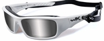 Wiley X WX Arrow Safety Sunglasses with Matte White Frame and Polarized Silver Flash Lens