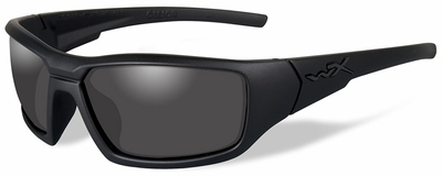 Wiley X WX Censor Black Ops Safety Sunglasses with Matte Black Frame and Polarized Smoke Gray Lenses