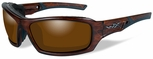 Wiley X WX Echo Safety Sunglasses with Matte Layered Tortoise Frame and Amber Polarized Lens