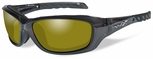 Wiley X WX Gravity Safety Sunglasses with Black Crystal Frame and Yellow Polarized Lens
