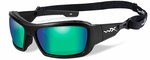 Wiley X WX Knife Safety Sunglasses with Matte Black Frame and Emerald Mirror Polarized Lens