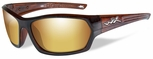 Wiley X WX Legend Safety Sunglasses with Gloss Hickory Brown Frame and Gold Mirror Polarized Lens