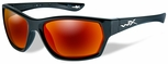 Wiley X WX Moxy Safety Sunglasses with Gloss Black Frame and Crimson Mirror Polarized Lens