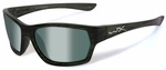 Wiley X WX Moxy Safety Sunglasses with Olive Stripe Frame and Polarized Green Platinum Flash Lens