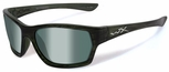 Wiley X WX Moxy Safety Sunglasses with Olive Stripe Frame and Polarized Green Plat Flash Lens