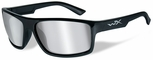 Wiley X WX Peak Safety Sunglasses with Gloss Black Frame and Silver Flash Mirror Lens