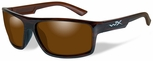 Wiley X WX Peak Safety Sunglasses with Gloss Layered Tortoise Frame and Amber Polarized Lens