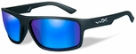 Wiley X WX Peak Safety Sunglasses with Matte Black Frame and Blue Mirror Polarized Lens