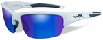 Wiley X WX Saint Safety Sunglasses with Gloss White Frame and Blue Mirror Polarized Lens