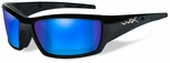 Wiley X WX Tide Safety Sunglasses with Gloss Black Frame and Blue Mirror Polarized Lens