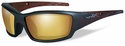 Wiley X WX Tide Safety Sunglasses with Matte Hickory Brown Frame and Gold Mirror Polarized Lens