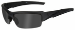 Wiley X WX Valor Black Ops Safety Sunglasses with Matte Black Frame and Polarized Smoke Gray Lenses