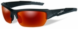 Wiley X WX Valor Safety Sunglasses with Black 2-Tone Frame and Crimson Mirror Polarized Lens