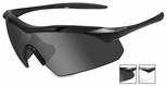 Wiley X WX Vapor Safety Sunglasses with Matte Black Frame and Grey and Clear Lenses