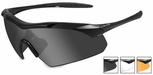 Wiley X WX Vapor Safety Sunglasses with Matte Black Frame and Grey, Clear and Light Rust Lenses