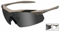 Wiley X WX Vapor Safety Sunglasses with Matte Tan Frame and Grey and Clear Lenses