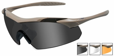 Wiley X WX Vapor Safety Sunglasses with Matte Tan Frame and Grey, Clear and Light Rust Lenses