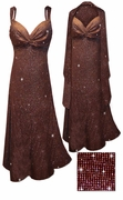 SALE! 2 Piece Glittery Brown With Copper Vertical Lines Glitter Slinky Print 2 Piece Plus Size SuperSize Princess Seam Dress Set 5x