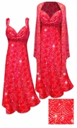 2 Piece Sparkly Silver and Red Glitter Dots & Lines Slinky 2 Piece Plus Size & Super Size Princess Seam Dress Set 3x 5x