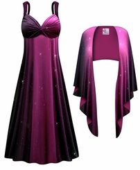 NEW! Customizable 2-Piece Purple to Black Glittery Slinky Plus Size SuperSize Princess Seam Dress Set 0x 1x 2x 3x 4x 5x 6x 7x 8x