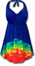 SALE! 2pc Blue Tropical Halter Style Plus Size Swimsuit Swimdress 1x 2x