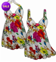 SALE! 2 Piece Colorful White Floral Plus Size Halter SwimDress Swimwear or Shoulder Strap 2pc Swimsuit 0x