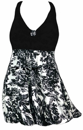SALE! 2pc Pretty Black &White Floral Plus Size Halter SwimDress Swimwear or Shoulder Strap 2pc Swimsuit 4x