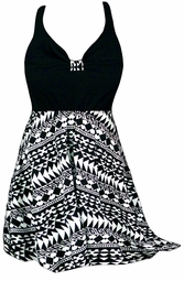 SALE! 2pc Pretty Black &White Tribal Print Plus Size Halter SwimDress Swimwear or Shoulder Strap 2pc Swimsuit 0x