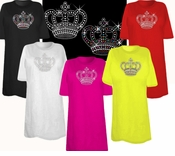 SALE! Awesome Hot Pink Rhinestud Rhinestone Silver or multi-Color Sparkly Crown Plus Size & Supersize T-Shirts 1x