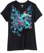 FINAL SALE! Just Reduced! Beautiful Black, Blue and Hot Pink Dragonfly Print Glittery Plus Size T-Shirt 4x 5x
