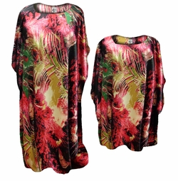 NEW! Customizable Beautiful Black Peacock Feathers Print Poly/Satin Plus Size & Supersize Caftan Dress or Shirt 1x to 8x
