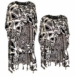 SALE! Beautiful Black & White Floral Geometric Print With Fringe Bottom Rayon Plus Size & Supersize Caftan Dress or Shirt 1x to 6x
