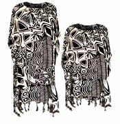 SOLD OUT! SALE! Beautiful Black & White Floral Geometric Print With Fringe Bottom Rayon Plus Size & Supersize Caftan Dress or Shirt 1x to 6x
