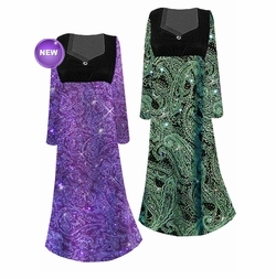 SOLD OUT! Beautiful Green & Purple Paisley Glittery Empire Waist Plus Size Dress With Pretty Detail 1x 2x 3x 4x 5x 6x 7x 8x 9x