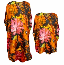 SALE! Beautiful Orange & Pink Watercolor Floral Print Poly/Satin Plus Size & Supersize Caftan Dress or Shirt 1x to 6x