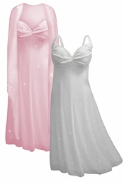 Beautiful White & Silver or Light Pink Opalescent Sequins 2 Piece Plus Size SuperSize Princess Seam Dress Set  0x 1x 2x 3x 4x 5x 6x 7x 8x