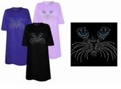 FINAL SALE! Big Blue Eyes Kitty Face Sparkly Rhinestuds Plus Size & Supersize T-Shirts 3x