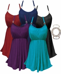 Black - Blue - Red - Burgundy White 2cp Plus-Size Babydoll Swimdress With Metal Circle Sparkle Clasp 0x 1x 2x 3x 4x Supersize 5x 6x 7x 8x 9x