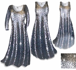 CLEARANCE! Metallic Leopard Slinky Plus Size & Supersize Tank Dress 0x