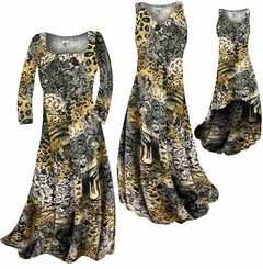 CLEARANCE! Black Lace Leopard Yellow Print Slinky Plus Size & Supersize  A-Line Dress 0x